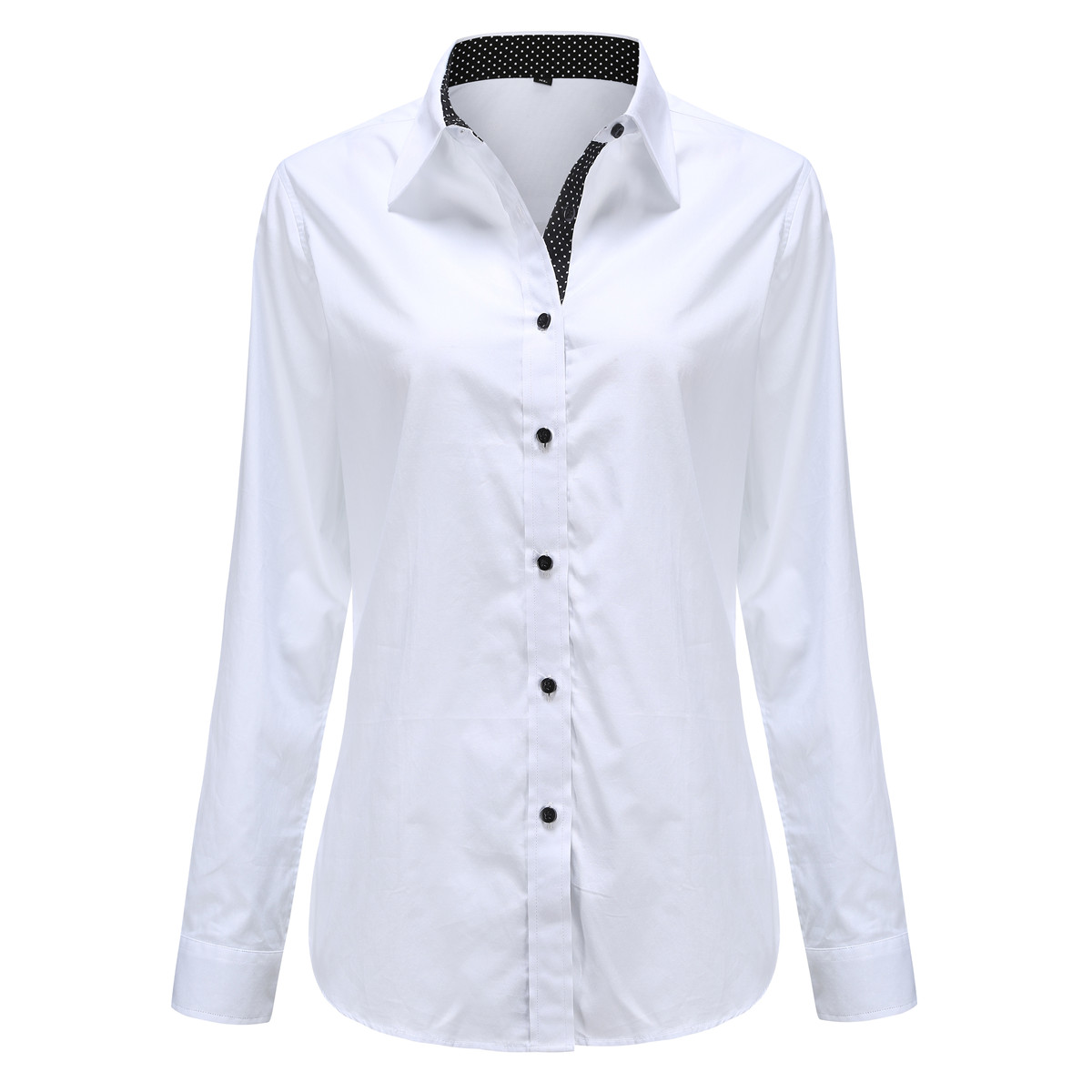 Dioufond White Office Ladies Blouse Shirt Patchwork Polka Dot Women Tops Autunm Winter Casual Turn Down Collar Shirts Plus Size