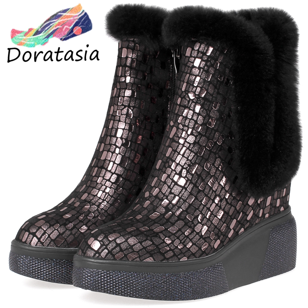 DORATASIA New Winter Genuine Leather Booties Ladies Fashion Fretwork Platform Ankle Boots Women 2019 Warm Fur High Shoes Woman in Ankle Boots from Shoes