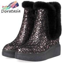 DORATASIA New Winter Genuine Leather Booties Ladies Fashion Fretwork Platform Ankle Boots Women 2019 Warm Fur High Shoes Woman