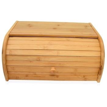 Natuurlijke Bamboe Brood Dozen Voor Keuken Teller Roll Top Grote Brood Doos Keuken Voedsel Opslag-(Monteren)