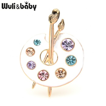Wuli&baby 2-color Painting Palette Brooches Women Men Crystal Enamel Black White Drawing Lovers Broo