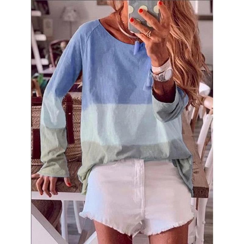 Korean Fashion Womens Striped 3//4 Sleeve Loose Summer Blouse Tops T Shirt Tee