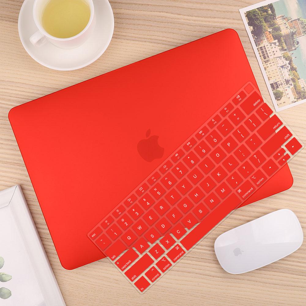 Чехол для ноутбука 4 в 1 для MacBook Air 11, 13 дюймов и Pro retina 13,3, 15,,,, кристально Матовый Жесткий чехол для клавиатуры - Цвет: Matte Red