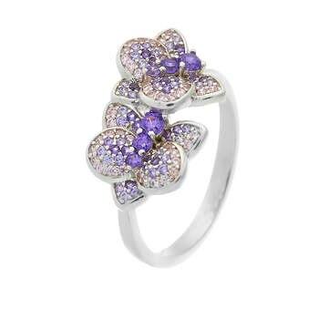 Кольцо из серебра с фианитами и нанокристаллами R1057-1