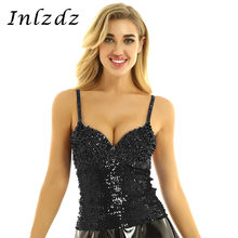 Women's Pole Dance Bustier Crop Top Push up Dazzling Underwired Bustier Club Party Corset Crop Top Vest for Rave Party Clothes(China)