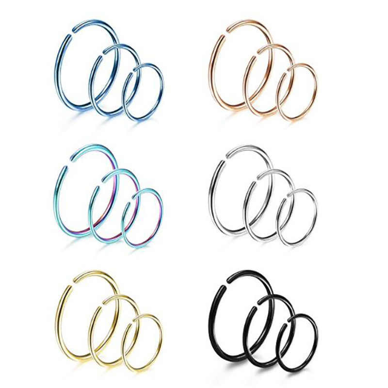 1 pcs New Arrival Surgical Steel 0.8mm Cartilage Piercing Stud Thin Small Nose Ring Hoop Fashion Jewelry 3 sizes and colors