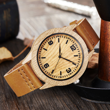 2020 Fashion Casual Wooden Watches Men Imitation Wood