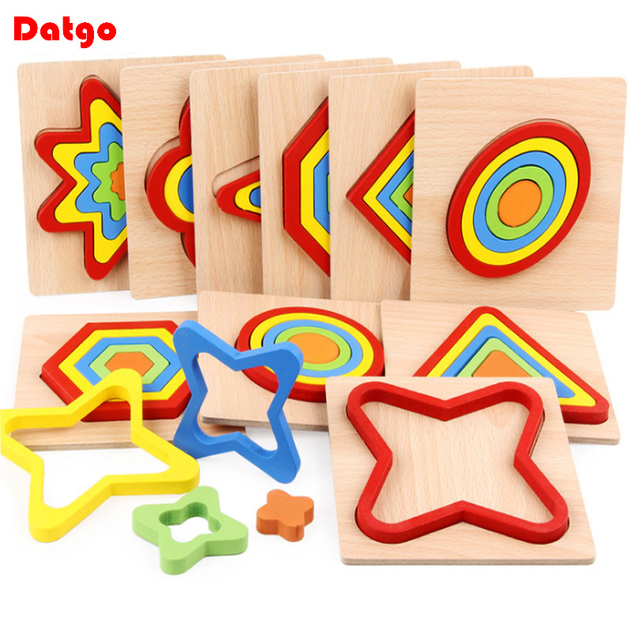 High Quality Colorful 3D Wooden Geometric Shapes Cognition Puzzles Board Math Game Montessori Learning Educational For Kids Toys 1