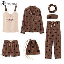 JRMISSLI 7pcs set Pyjamas Set Ladies Cotton Sweet Home Outer