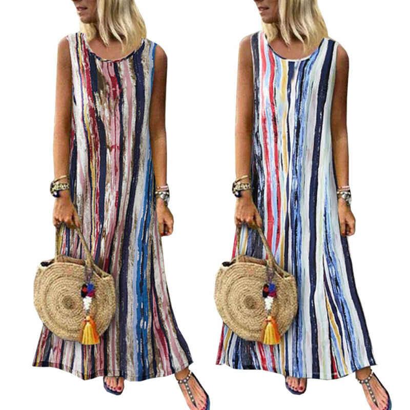 2019 קיץ נשים שמלת פסים הדפסת Boho ארוך מקסי קוקטייל שמלות מסיבת קיץ ערב חוף מודפס Sundres מזדמן