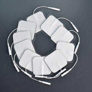 Image 5 - 20/50/100 Pcs 5x5cm 2mm Plug Reusable electrodes Tens Electrode Pads For Nerve Muscle Stimulator Digital Physiotherapy Massager