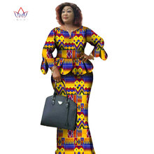 African Wax Print Two Piece Set Bazin Riche African Clothes for Women Ruffles Pe