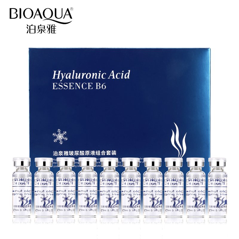 BIOAQUA 10pcs/lot Skin Care Moisturizing Vitamins Hyaluronic Acid Essence Facial Serum Anti Wrinkle Anti Aging Collagen Liquid