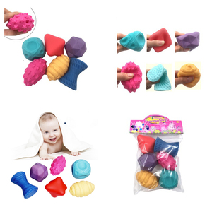 Baby Hand Rubber Ball Soft Textured Sensory Rattle Toy Infant 0-12 Month Touch Training Massage Tool Children Tactile Girls Game(China)