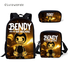 ELVISWORDS Fashion Kids Backpack Bendy and the Ink Machine Pattern School Book Bags Students 3PC Set Backpack/Flaps Bag/Pen