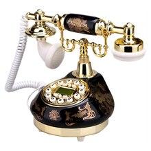 Teléfono antiguo negro con cable Retro teléfonos para el hogar antiguo teléfono fijo de cerámica de moda antigua teléfonos Vintage para la decoración de la oficina en casa