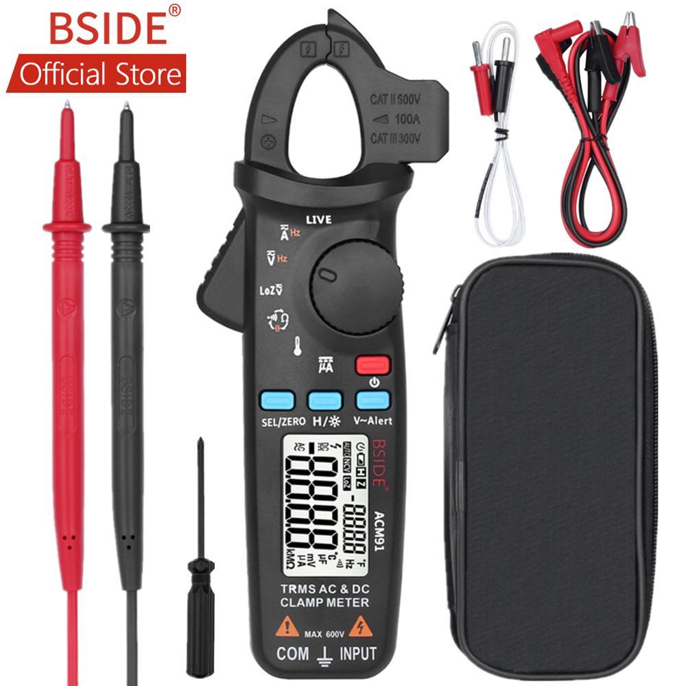 BSIDE ACM91 Digital AC/DC Pinça de Corrente do Medidor Auto-Range TRMS Multímetro NCV Verificação Ao Vivo Do Reparo Do Carro Freqüência capacitor Tester