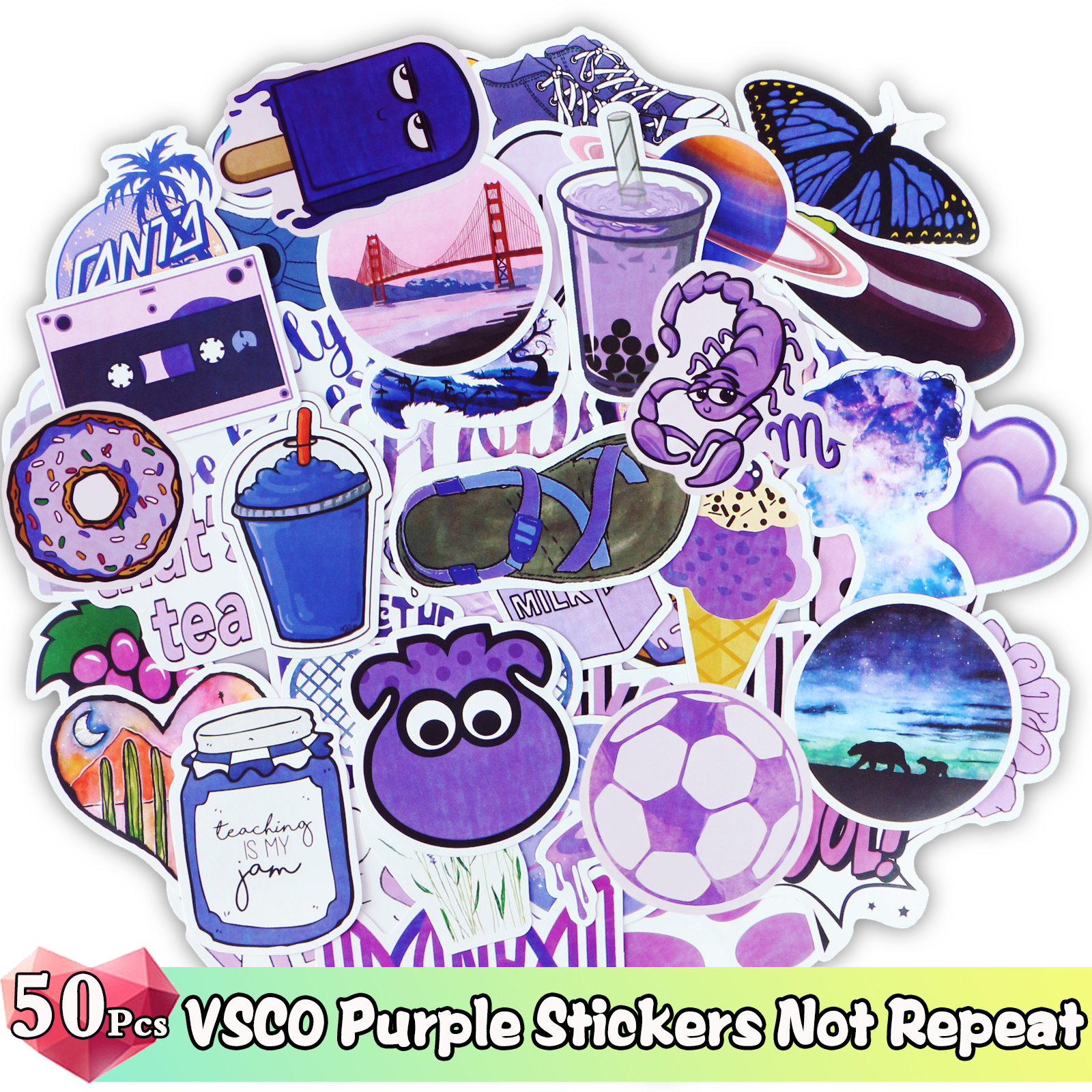 Купить с кэшбэком Mixed Color VSCO Girl Stickers 60/50/10 Pcs/Lot 13 Style Waterproof Stickers for Water bottle Skateboard Laptop Suitcase Kid Toy