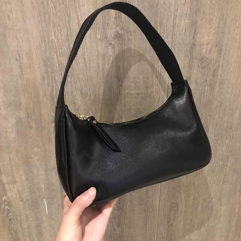 Bolso de hombro pequeño bolso de mano Vintage para mujer bolso de cuero de cera de aceite para mujer bolso de Baguette para mujer Mini Subaxillary Bolsa femenina