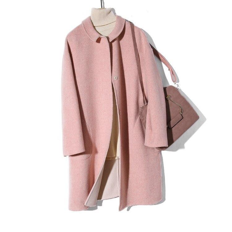 Titotato/новое зимнее женское пальто розового цвета, куртка, пальто, настоящее свободное, 2019, двустороннее шерстяное пальто, Manteau Femme Hiver, топ на п...