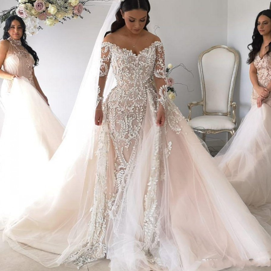Luxury Blush Pink Wedding Dresses With Removable Train Mermaid Bridal Gowns Full Lace Long Sleeve Off Shoulder Vestidos De Novia