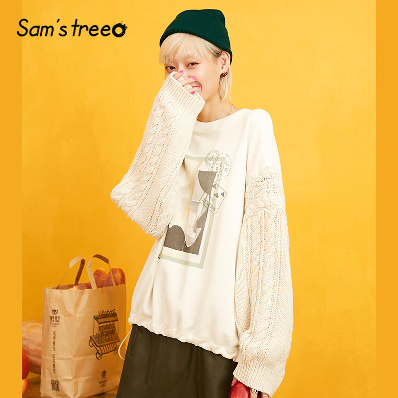 Samstree White Patchwork Letter Print Korean Style Sweatshirt Women 2019 Autumn Vintage Cute Leisure Oversize Ladies Tops
