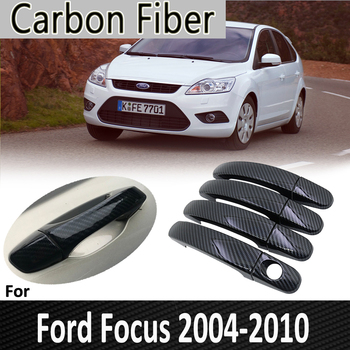 Black Carbon Fiber for Ford Focus 2 MK2 MK2.5 2004 2005 2006 2007 2009 2010 Door Handle Cover Sticker DecorationsCar Accessories image