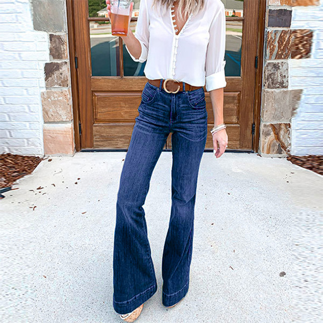Womens Sexy Large size Wide Leg Jeans For Women Mom Flare Pants With Hight Waisted Stretch Denim Button Female 2021 New #S Jeans 3