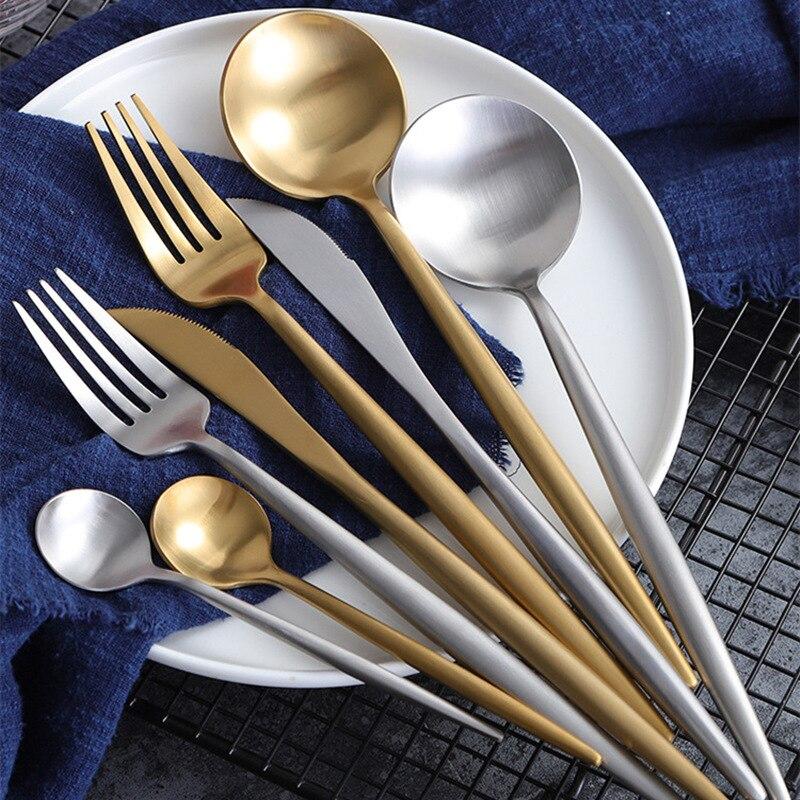 Hot Sale 24pcs Black Christmas Cutlery Set Wedding Dinnerware Forks Spoons Knives Scoop Set 304 Stainless Steel Silverware Set 2