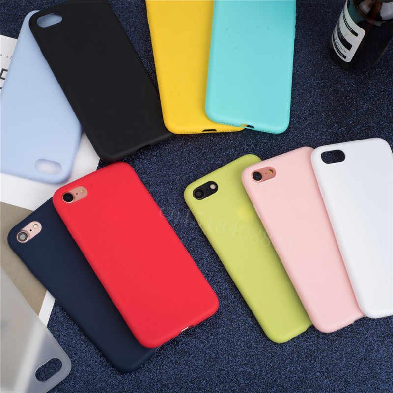 Mềm Sang Trọng Lưng Matte Màu Trường Hợp Cho iPhone 7 Plus 8 6 6 S X XS Max XR 5 5 5S SE Ốp Lưng Chống Sốc Chất Ốp Lưng Silicone Không Logo