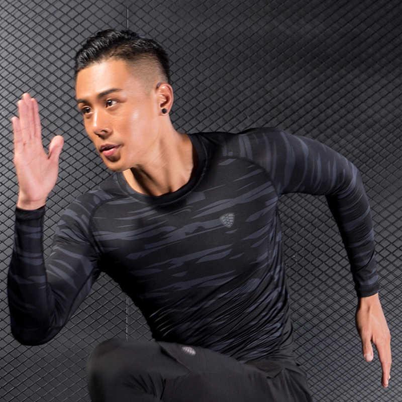 جديد رجل تشغيل في الهواء الطلق الرياضة طويلة الأكمام تي شيرت رياضة اللياقة البدنية سريعة الجافة نحيل T قميص الذكور الركض تجريب المحملة قمم الملابس