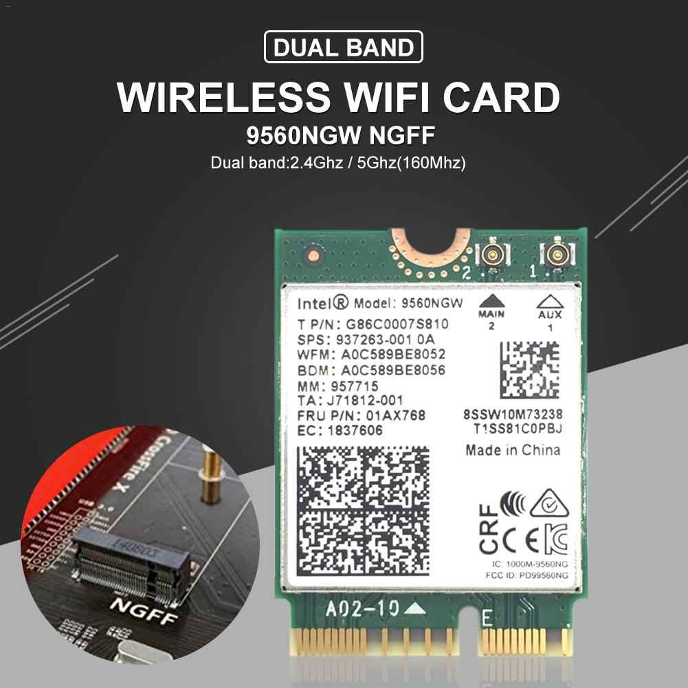Placa de rede sem fio 9560/9260/ax200 ac ngff, placa wifi 1.73gbps 802.11ac bluetooth 5.0 m. adaptador wifi/bluetooth para windows 10, 2
