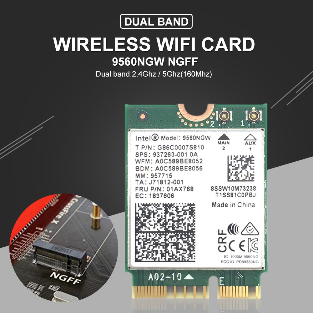 Wireless 9560/9260/AX200 AC NGFF Key Network Wifi Card 1.73Gbps 802.11ac Bluetooth 5.0 M.2 WiFi/Bluetooth Adapter For Windows 10