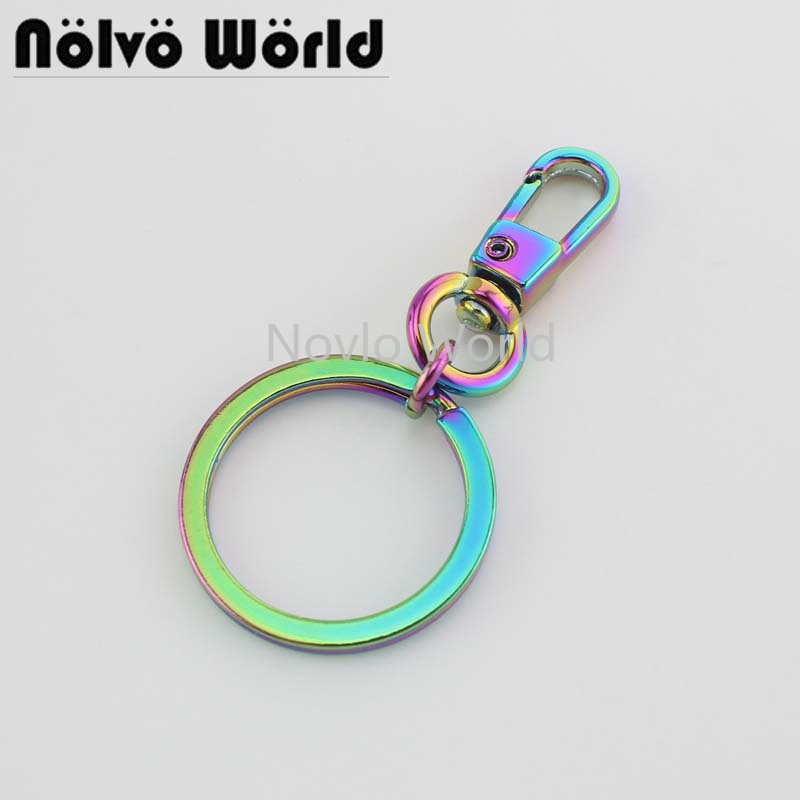 10-50pcs, Iridescent Rainbow Swivel Small Clasp With 24mm Key Ring For Popular Pendant Bag Purse Accessories