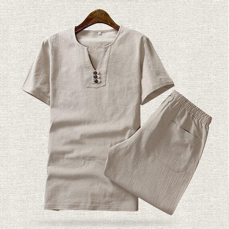 2020 New Arrival Summer Men Sets Cotton Linen Thin Short Sleeve T-Shirt Fashion Plus Size M-5XL Two Piece Sets Shorts For Men