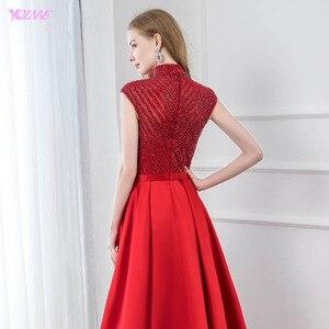 Image 5 - אופנה אדום גבוהה צווארון סאטן חרוזים שמלת ערב 2019 ארוך בת ים פורמליות ערב שמלות כובע שרוול YQLNNE