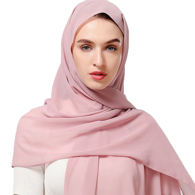 180*85CM Big Size Plain Bubble Chiffon Scarf Women Muslim Hijab Shawl Wrap 2019 Malaysia Hot Headscarf Long Scarves