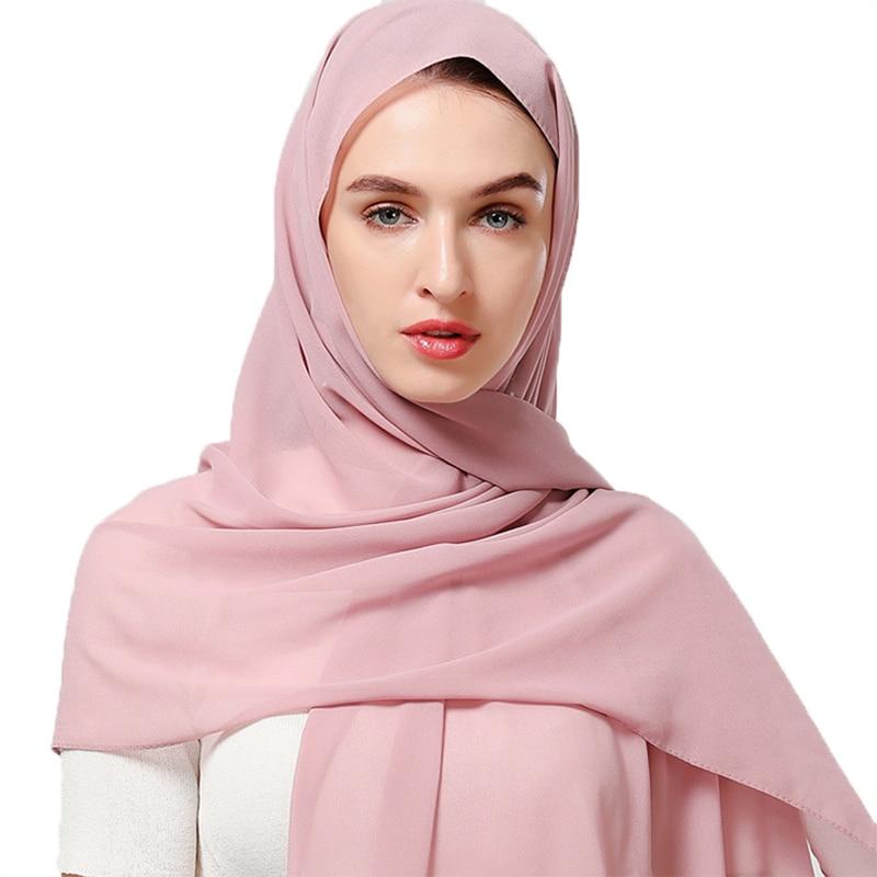 Headband Shawls Hijab Wrap Bubble Chiffon 1PC Muslim Lady Scarf Plain Wholesale