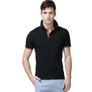 Image 1 - Męskie koszulki Polo męskie bawełniane koszulki Polo męskie koszulka Polo z krótkim rękawem męskie topy slim Casual oddychające jednokolorowe koszule biznesowe