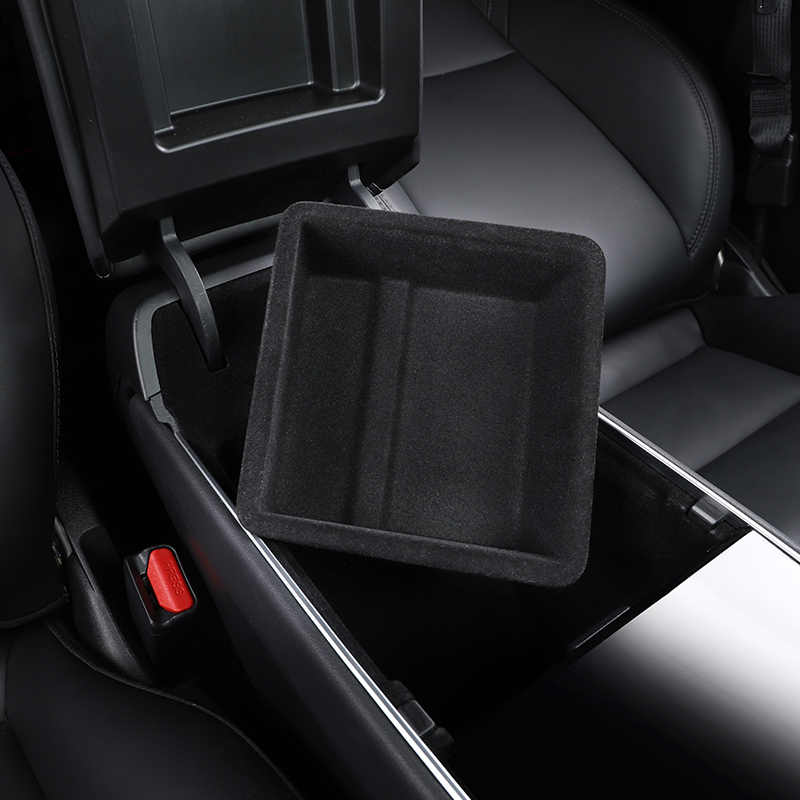Black Scarlet Car Storage Compartment Sorted Organiser Storage Compartment Tray Storage Box Centre Console for All Tesla Model 3 and Y