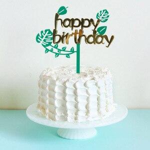 Image 3 - Листик для торта с тропическими листьями, верхушка для кексов, Летняя Вечеринка, джунгли, день рождения, гавайская вечеринка, украшение для торта