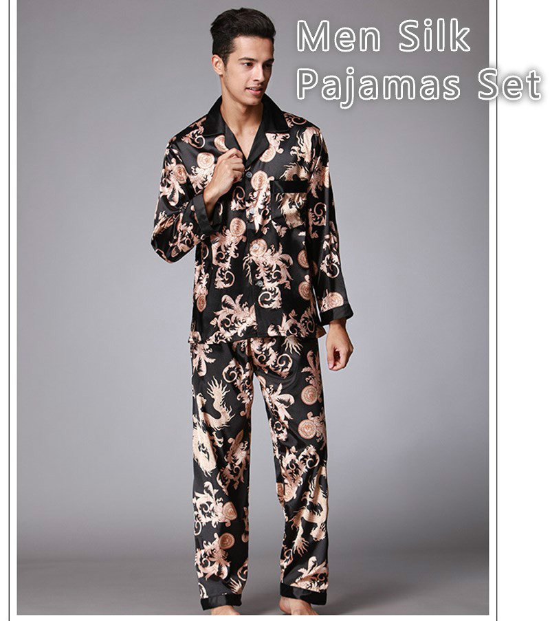 Men Stain Silk Pajamas Sets Pigiama Uomo Homewear Winter Pijama Hombre Invierno Sexy Man Nightgrown Sleepwear Bornoz Setleri