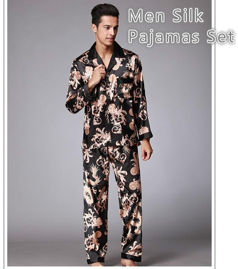 Men Stain Silk Pajamas Sets Pigiama Uomo Homewear Winter Pijama Hombre Invierno Sexy Man Nightgrown Sleepwear Bornoz Setleri
