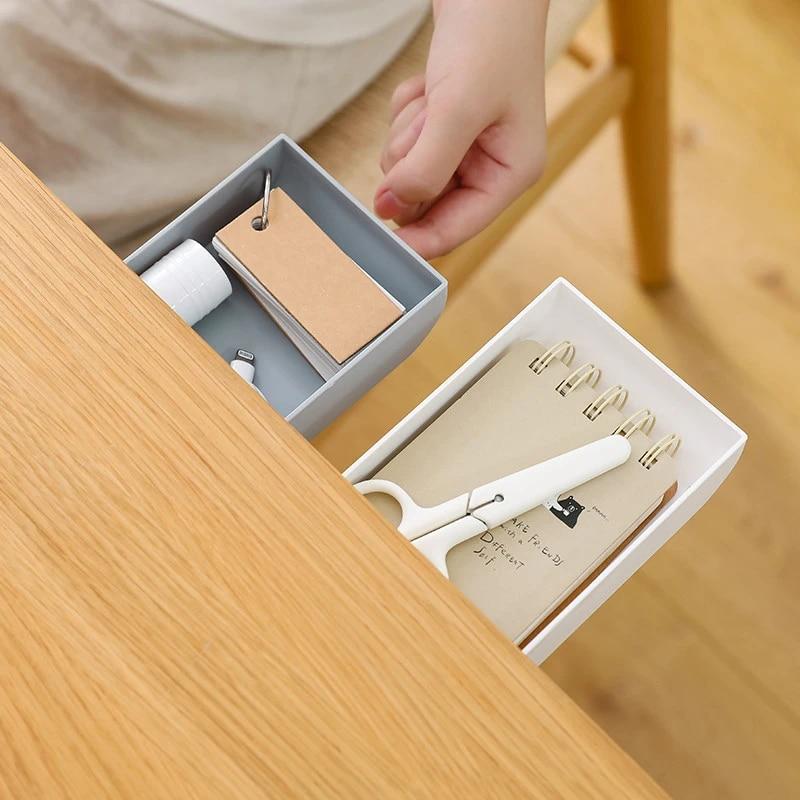 1Pcs Self-Adhesive Table Drawer Bottom Pen Tray Holder Storage Organizer Box