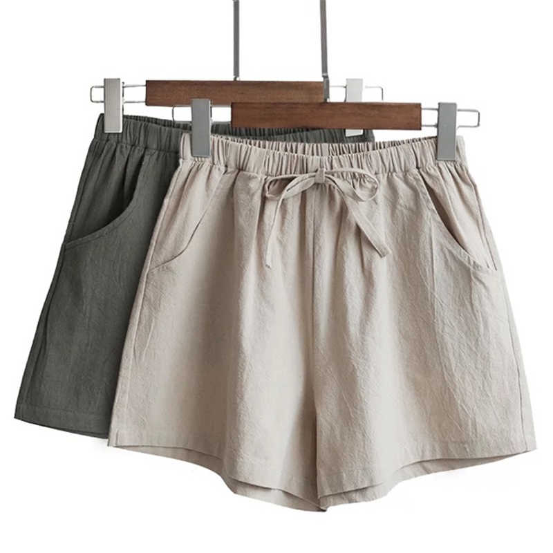 Women's Cotton And Linen Shorts High Waist Casual Fit Comfortable High Elastic Waistline Shorts