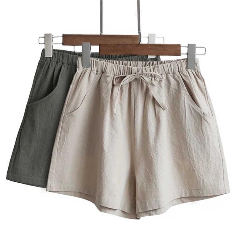 Women's Cotton And Linen Shorts High Waist Casual Fit Comfortable High Elastic Waistline Shorts