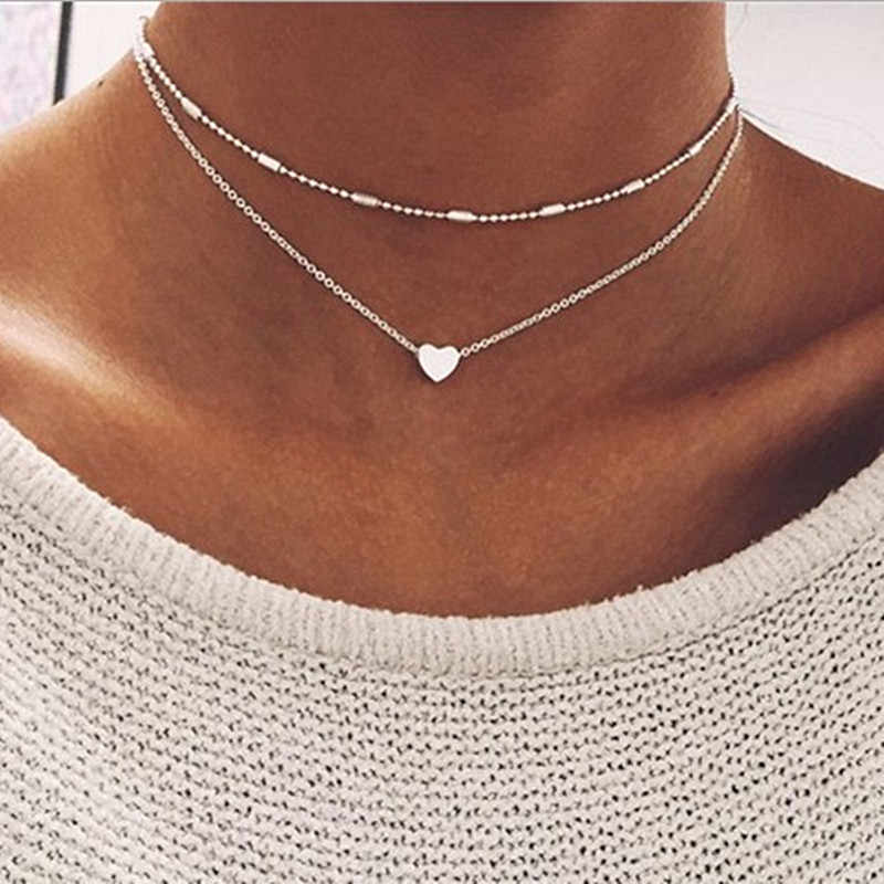 New Fashion Steampunk Dainty Circle Collier Jewelry Round Minimalist Chain Pendant Necklace For Women Jewelry Gift Cheap Collar