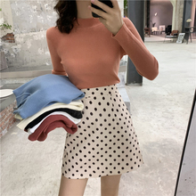 6 Solid Color Korean Style Women Sweater Autumn Winter White Basic Knitted Sweaters Long Sleeve Vintage Chic OL Black Pull Femme