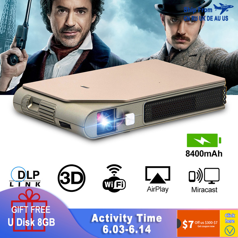 CAIWEI S7+ Mini Portable DLP Projector 3D Cinema Home Theater Outdoor Video Movie for Smartphone Data Show Beamer Large BattryLCD Projectors   -