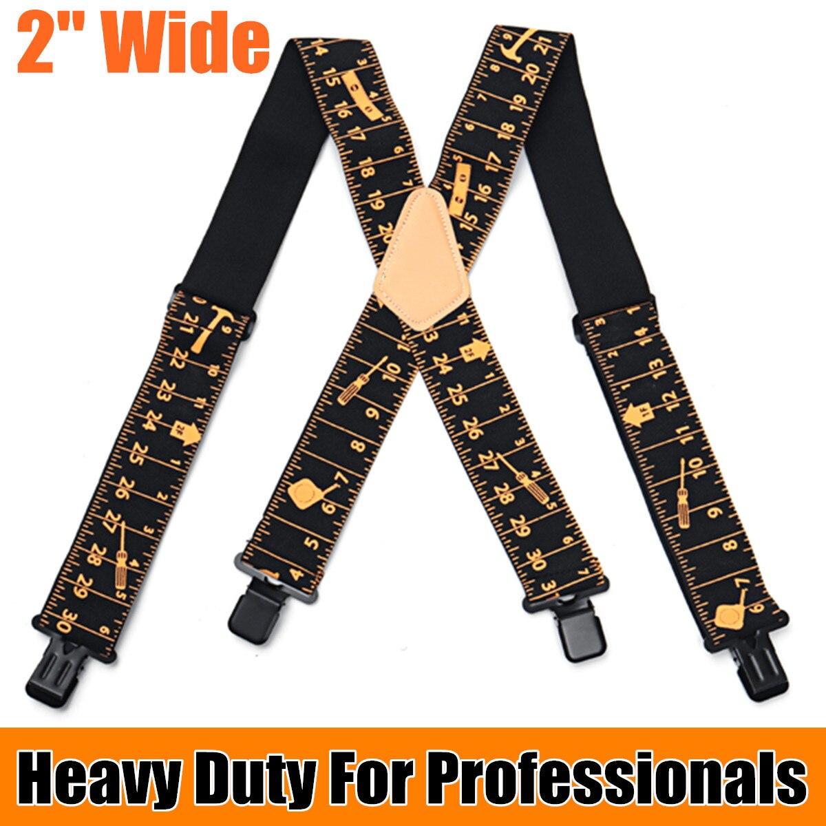 Plus 120cm Length 5cm Wide Suspenders Adjustable Four Clip-on X- Back Elastic Heavy Duty Braces Mens Suspenders